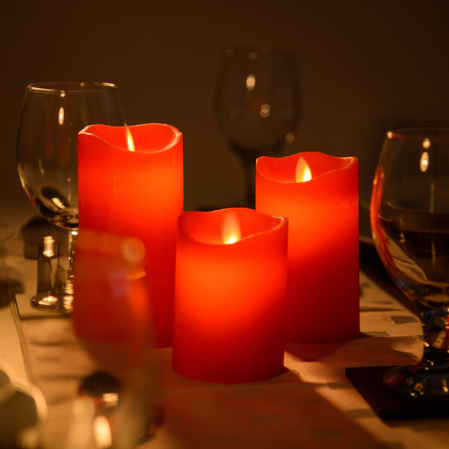 Image of 3 x LED Flickering Flame Candles & Remote Control - Red