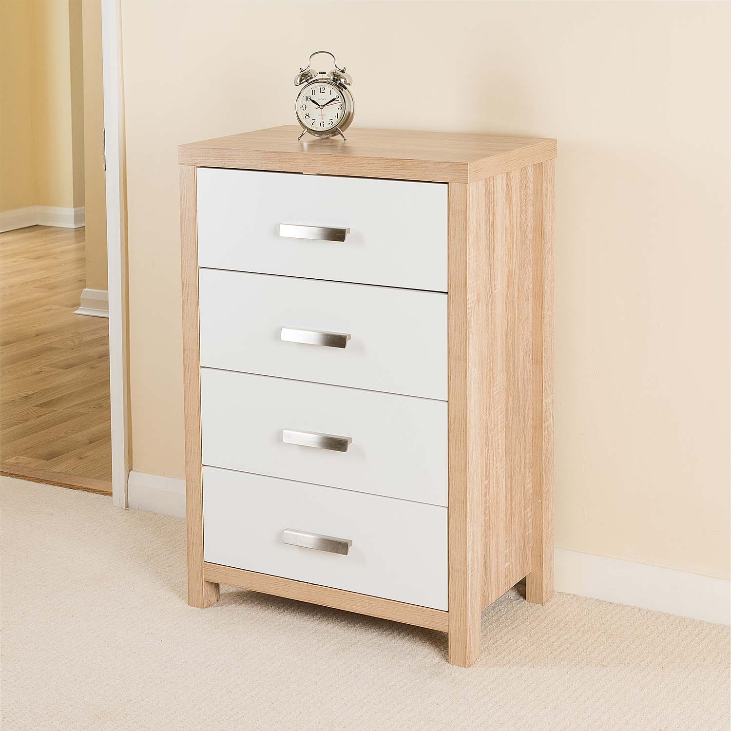 Image of Bianco 4 Drawer Chest, Oak Effect by Christow
