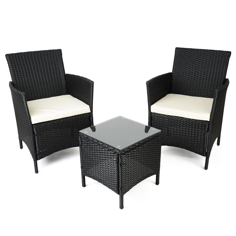 Image of Christow Black Rattan Table & Chairs Set