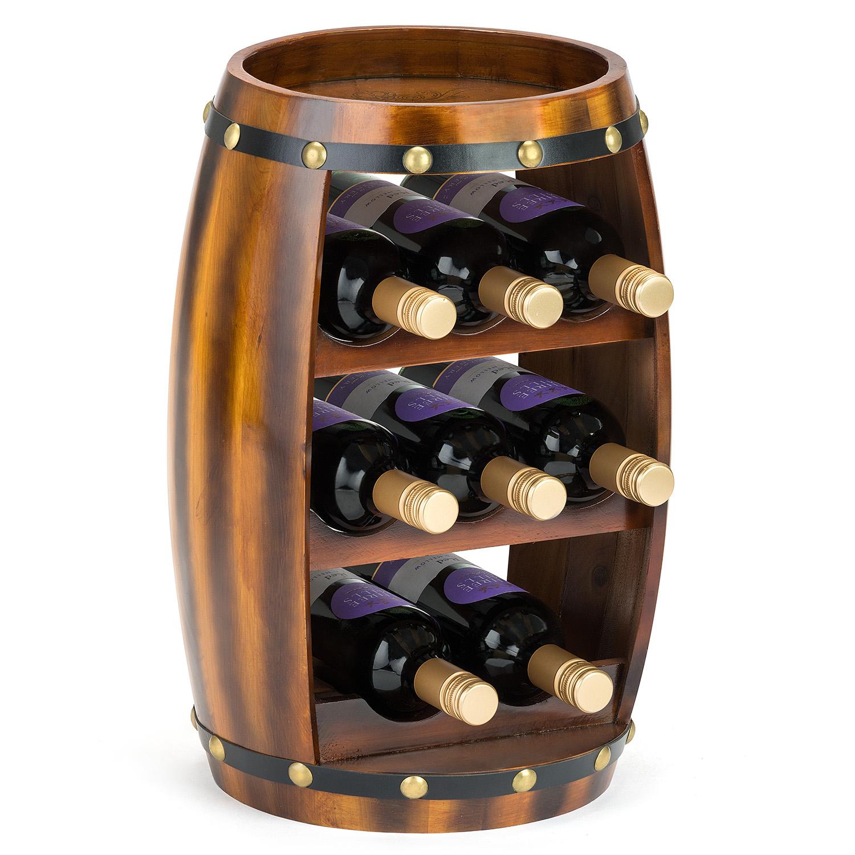Image of 8 Bottle Wooden Barrel Wine Rack