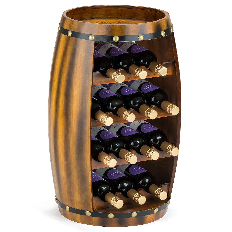 Image of 14 Bottle Wooden Barrel Wine Rack