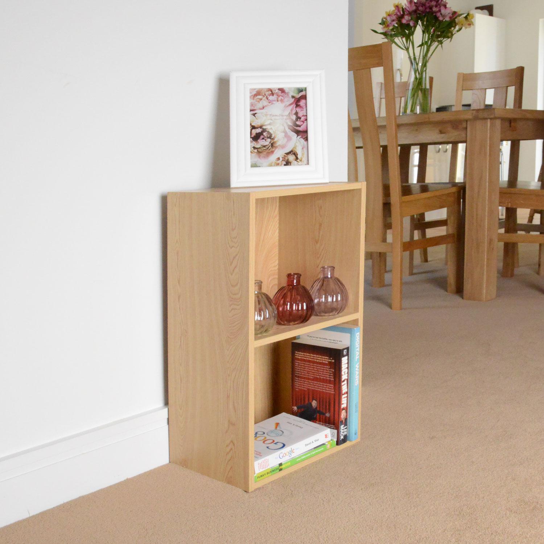 Image of Christow 2 Shelf Wooden Storage Unit (Light Oak)