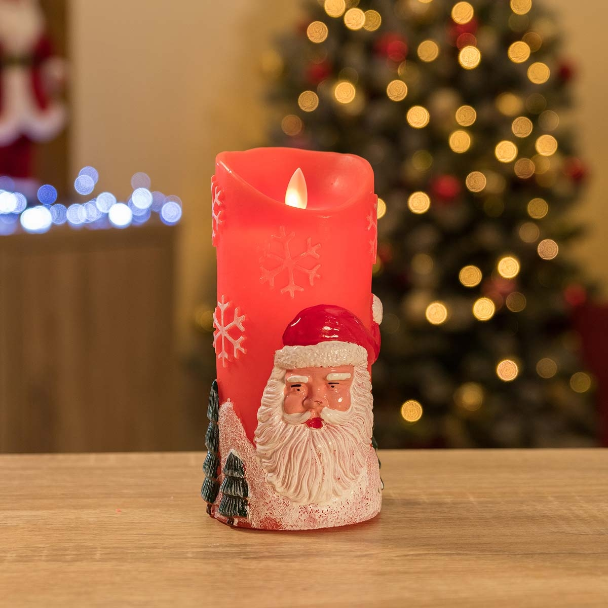 Image of Christow Santa Claus LED Christmas Candle - Red