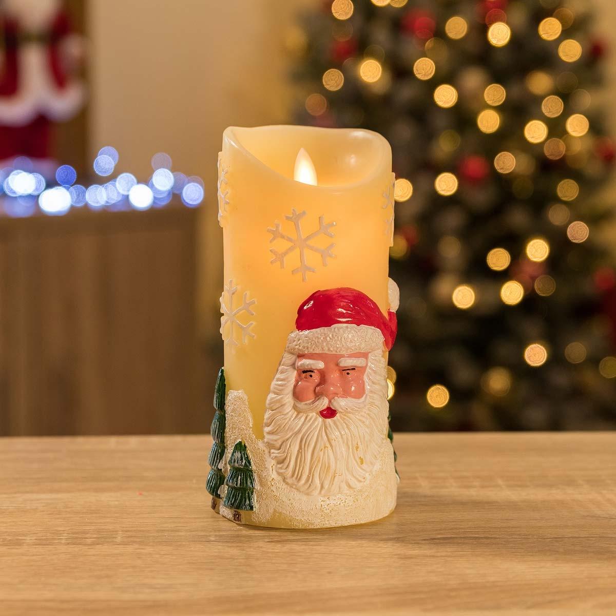 Image of Christow Santa Claus LED Christmas Candle - Cream