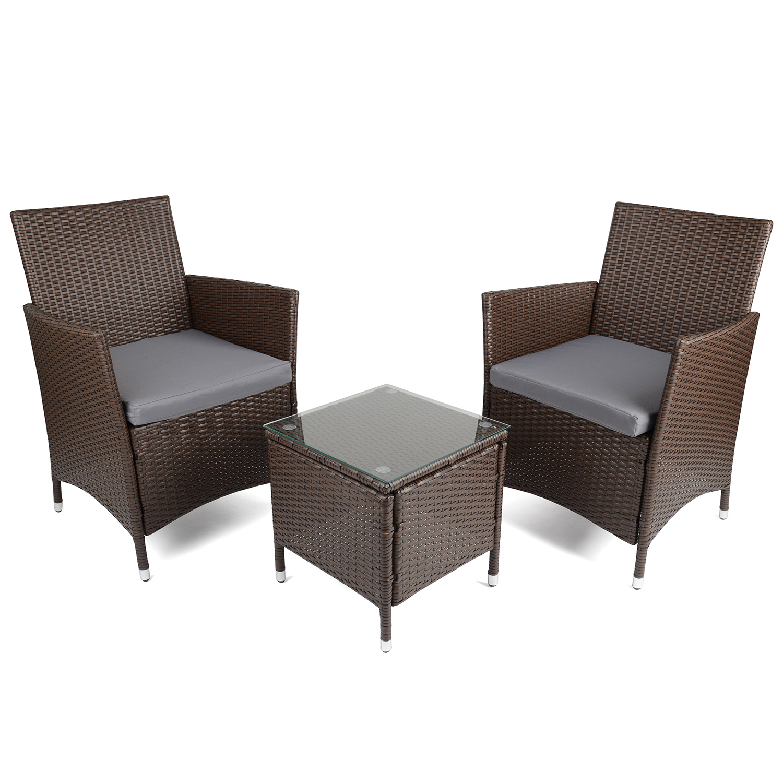 Image of Christow Brown Rattan Table & Chairs Set