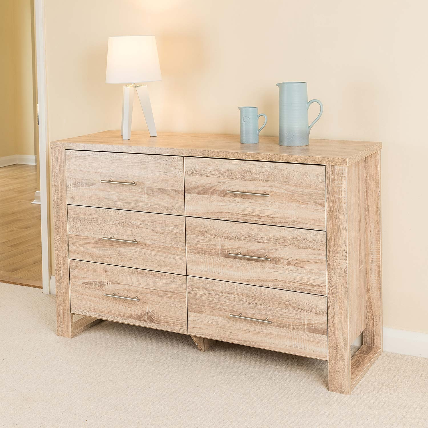 Image of Christow Oak Effect 6 Drawer Cabinet