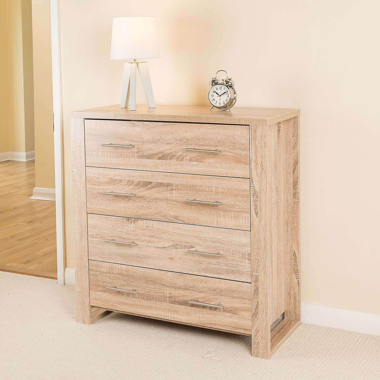 Image of Christow Oak Effect 4 Drawer Cabinet