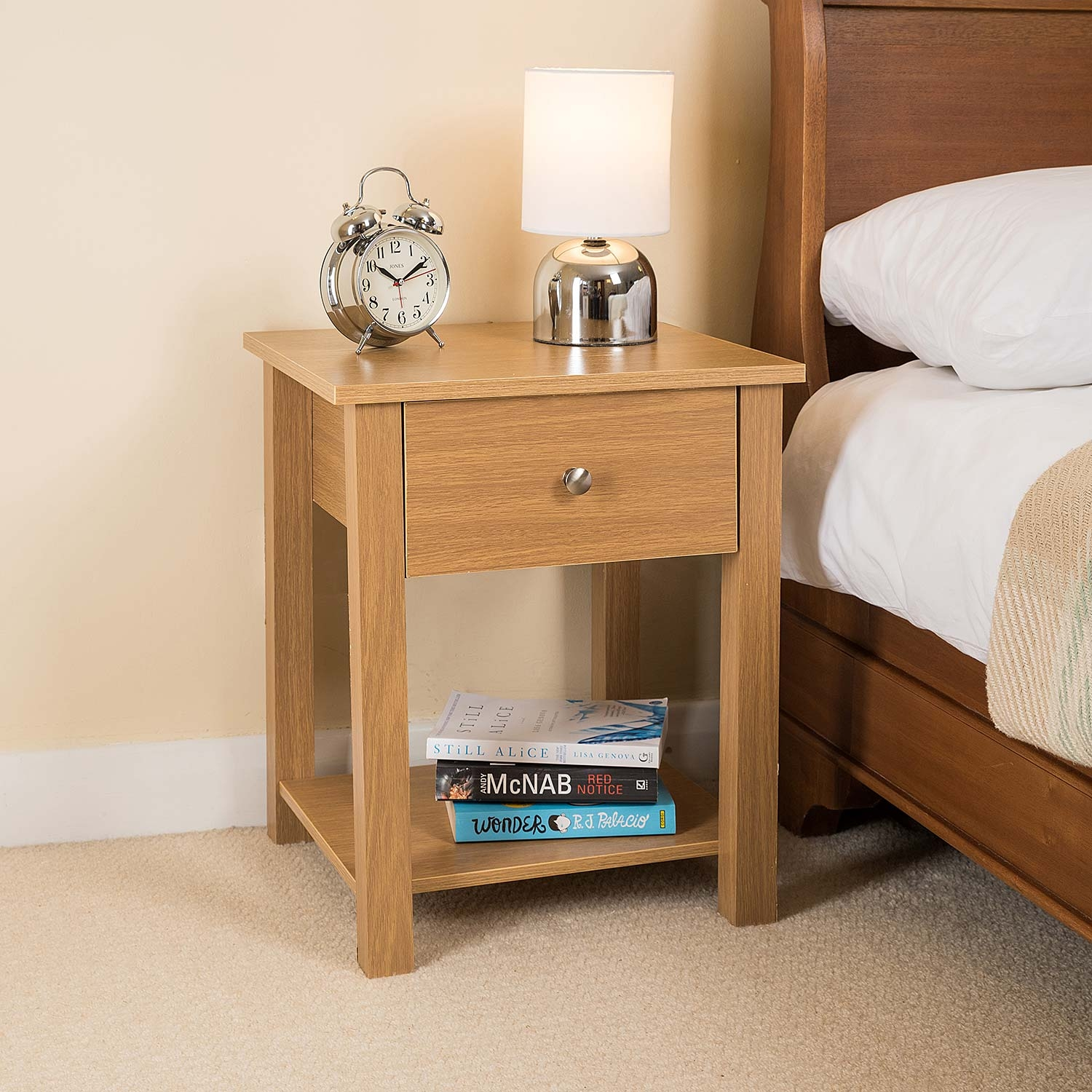 Image of Christow Wooden 1 Drawer Nightstand (Oak)