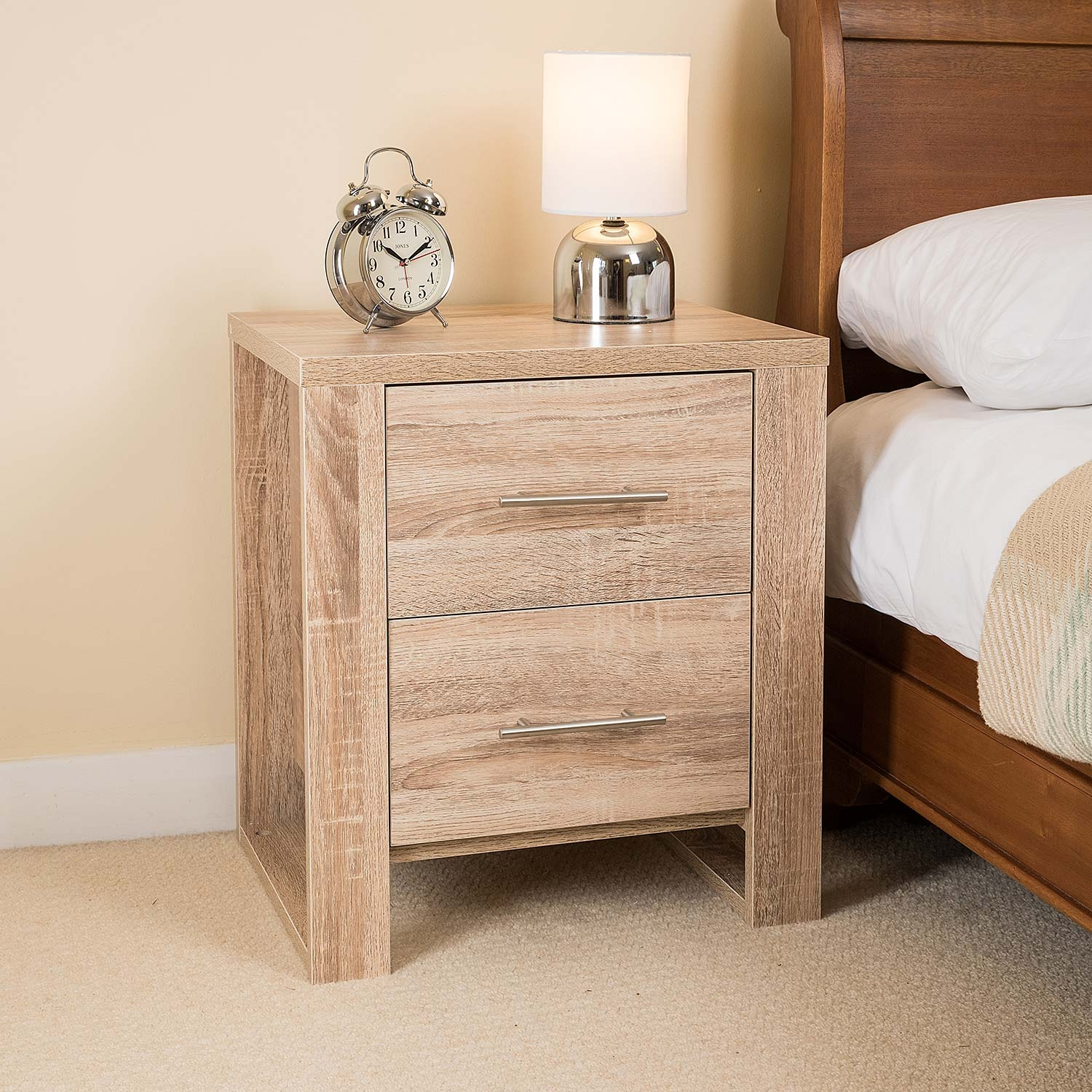 Image of Oak Effect 2 Drawer Bedside Table