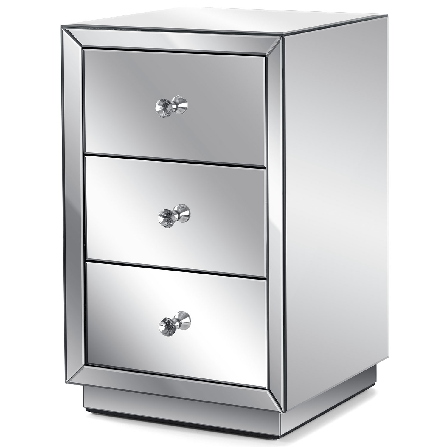 Image of Christow 3 Drawer Mirrored Bedside Cabinet