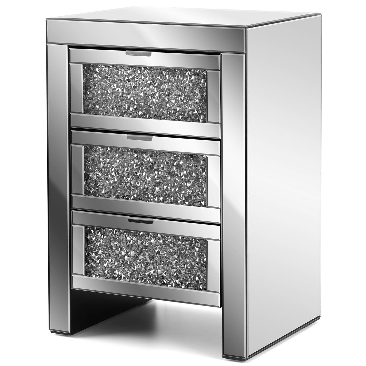 Image of Christow Crystal 3 Drawer Mirrored Bedside Cabinet