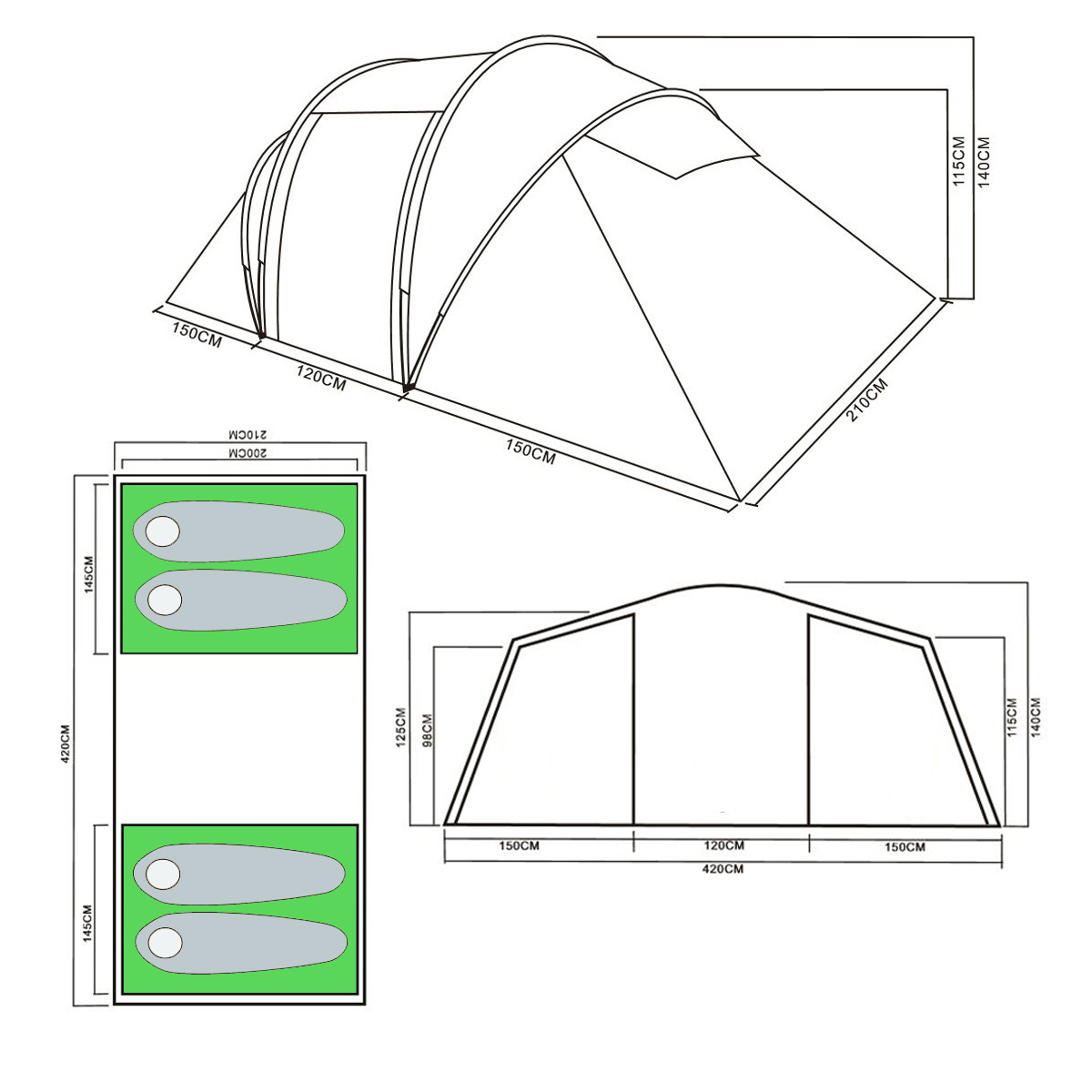 Trail 4 Man Family Tunnel Tent With Awning Camping