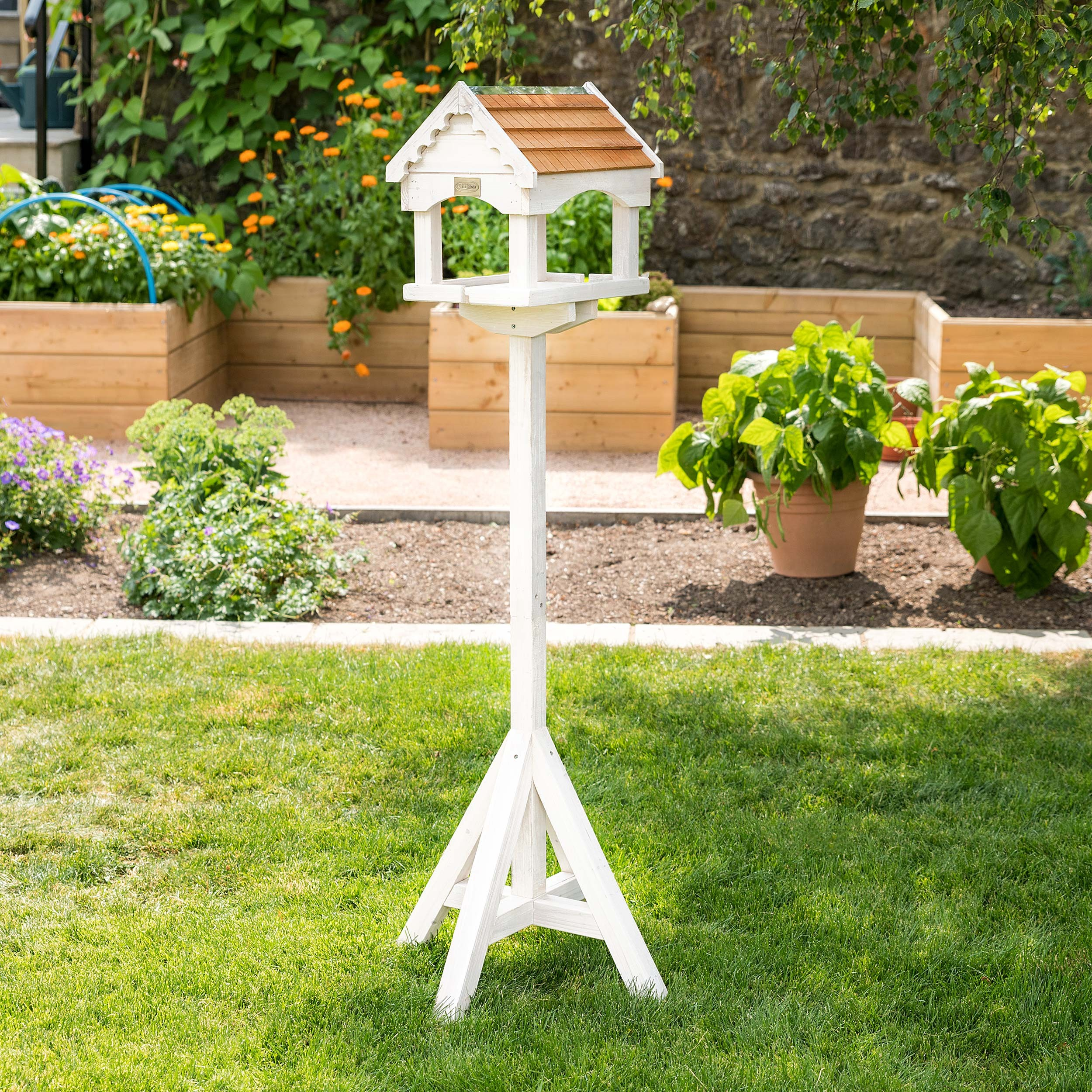 Image of Christow Large White Wooden Bird Table With Roof