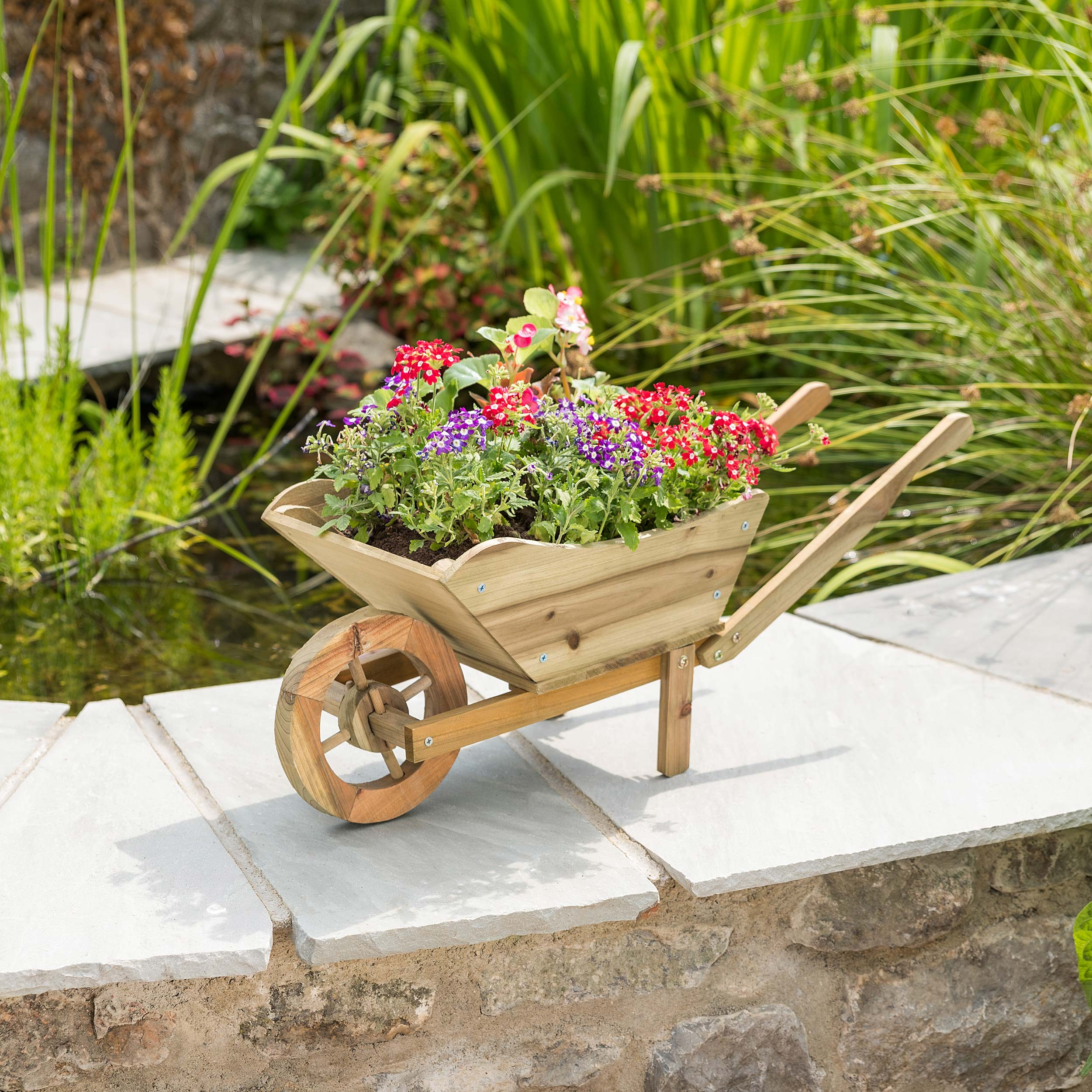 Image of Christow Wooden Wheelbarrow Planter With Wheel