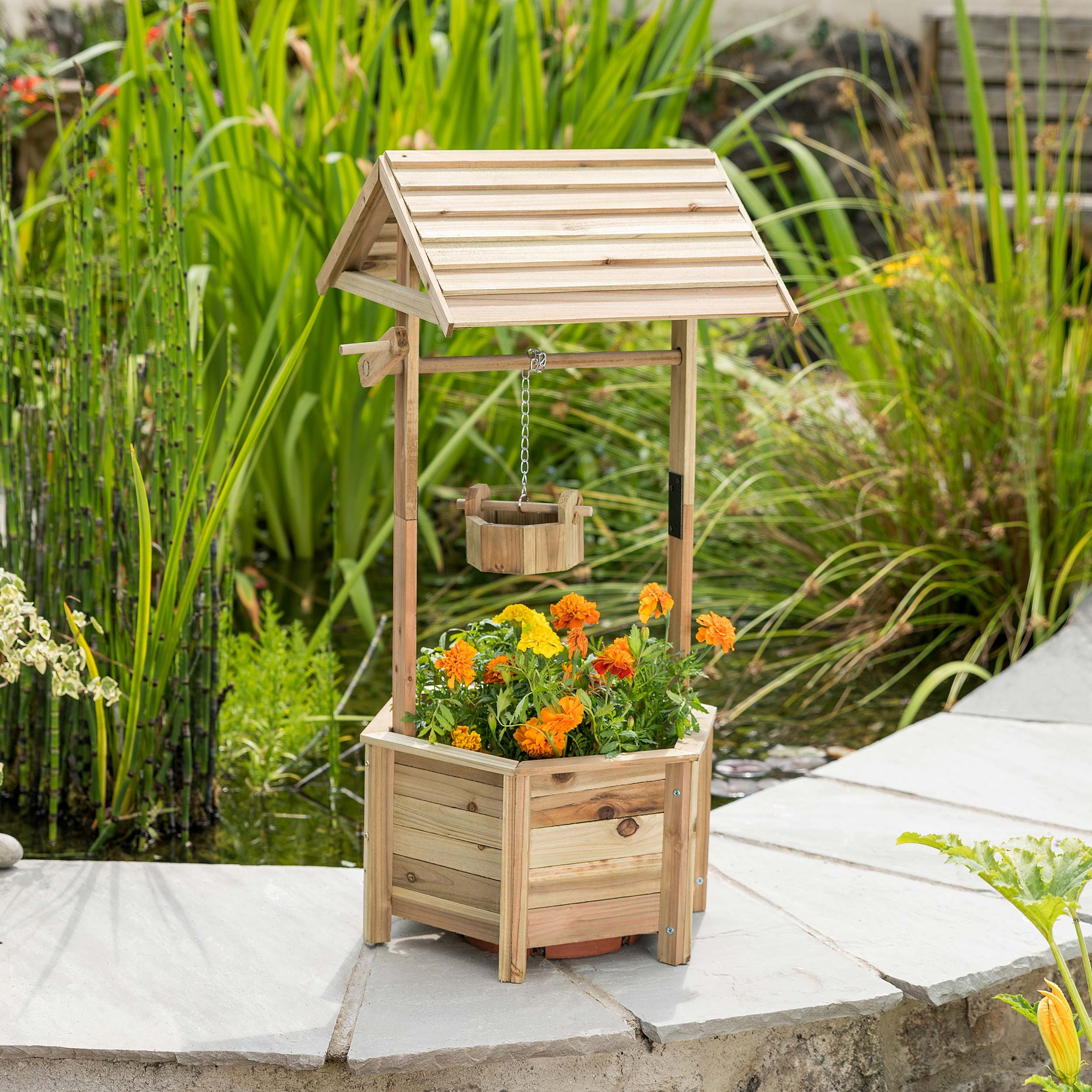 Image of Christow Wooden Wishing Well Planter