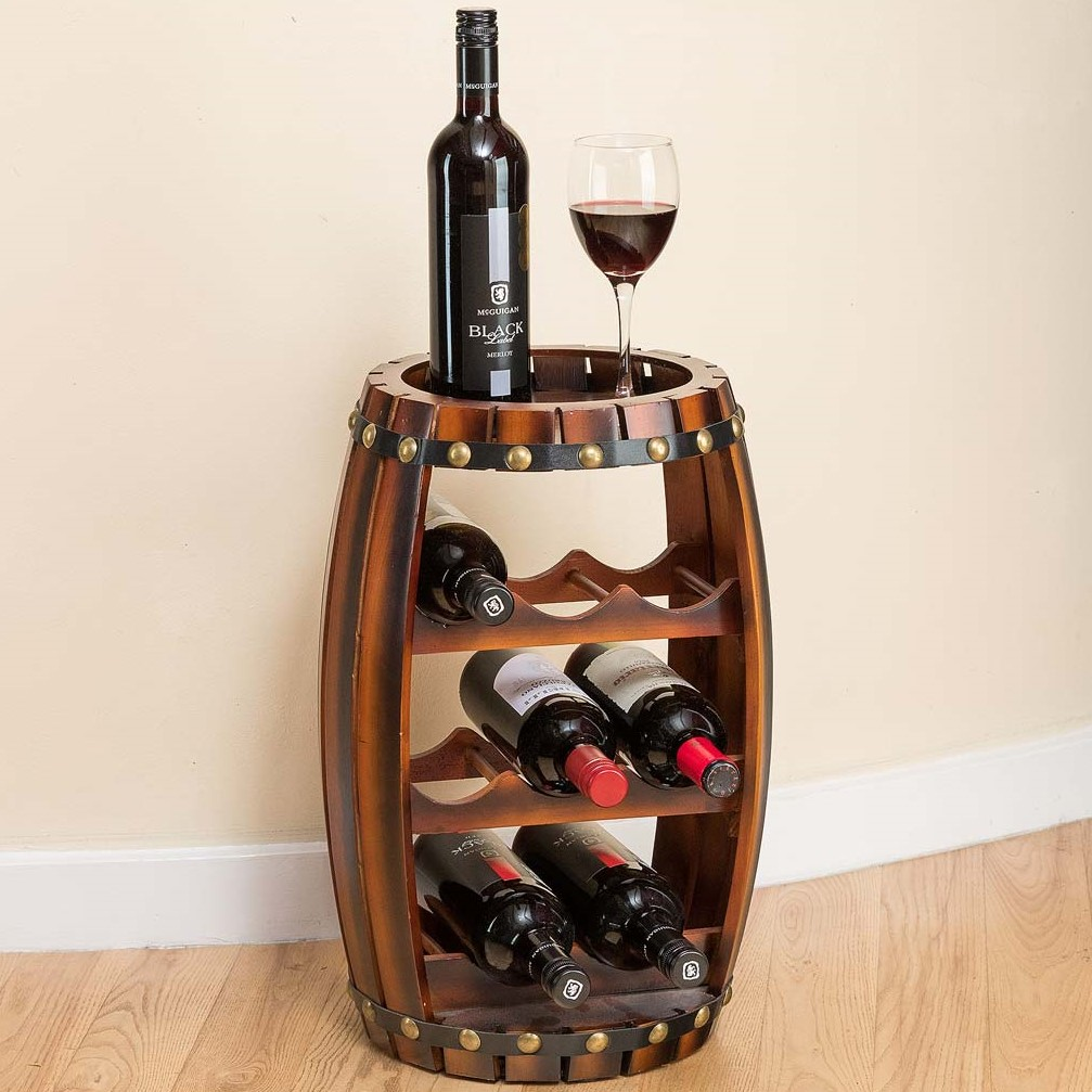 Image of Christow 8 Bottle Wooden Barrel Wine Rack