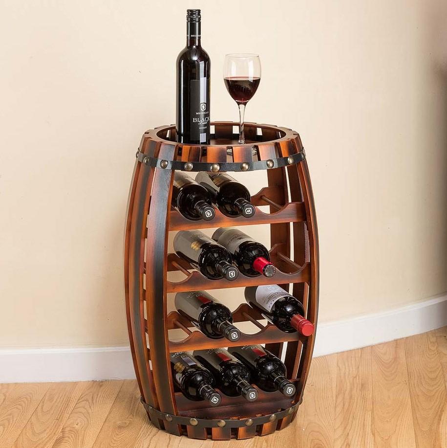 Image of Christow 14 Bottle Wooden Barrel Wine Rack