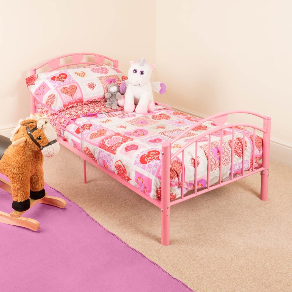 Image of Pink Metal Toddler Bed Frame