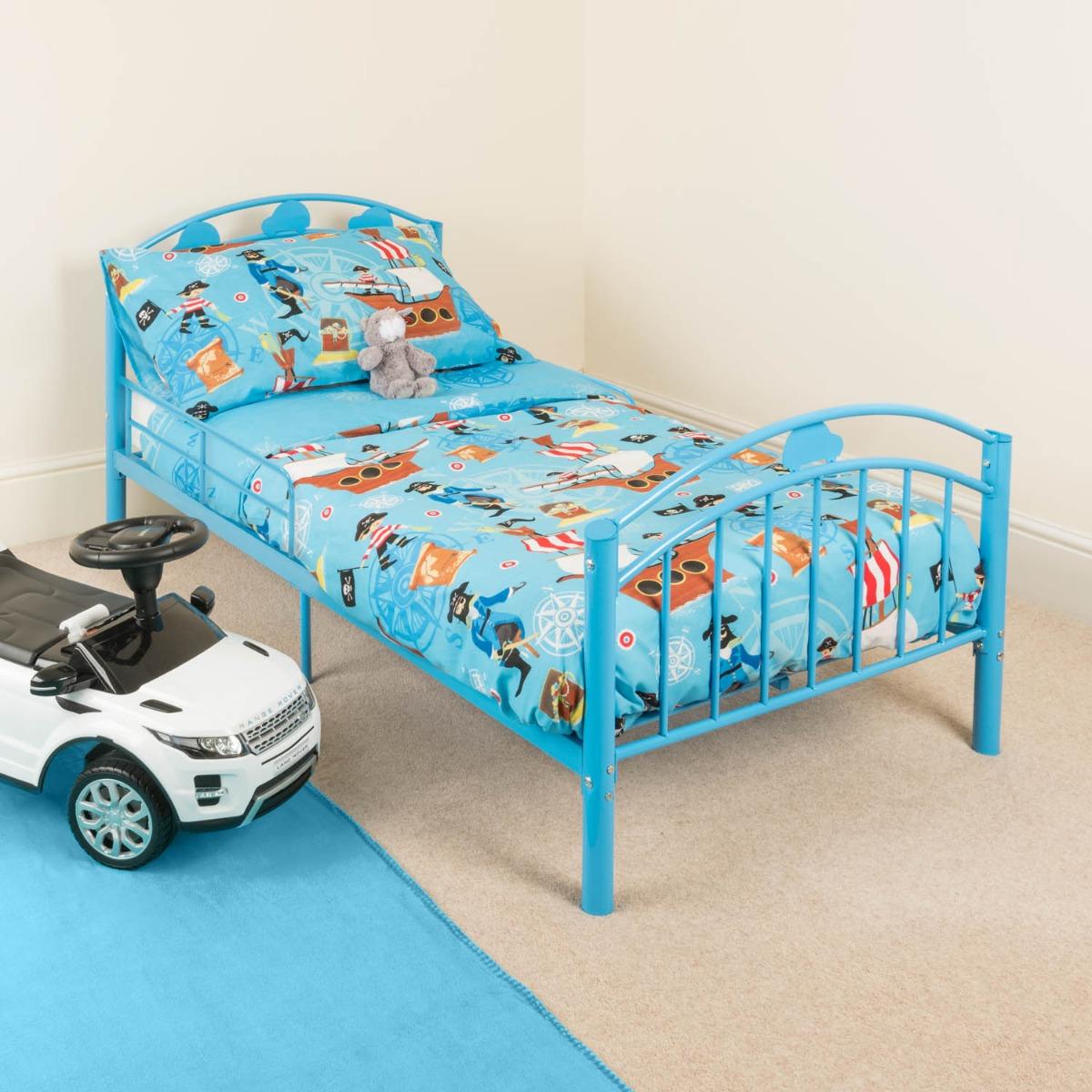 Image of Blue Metal Toddler Bed Frame