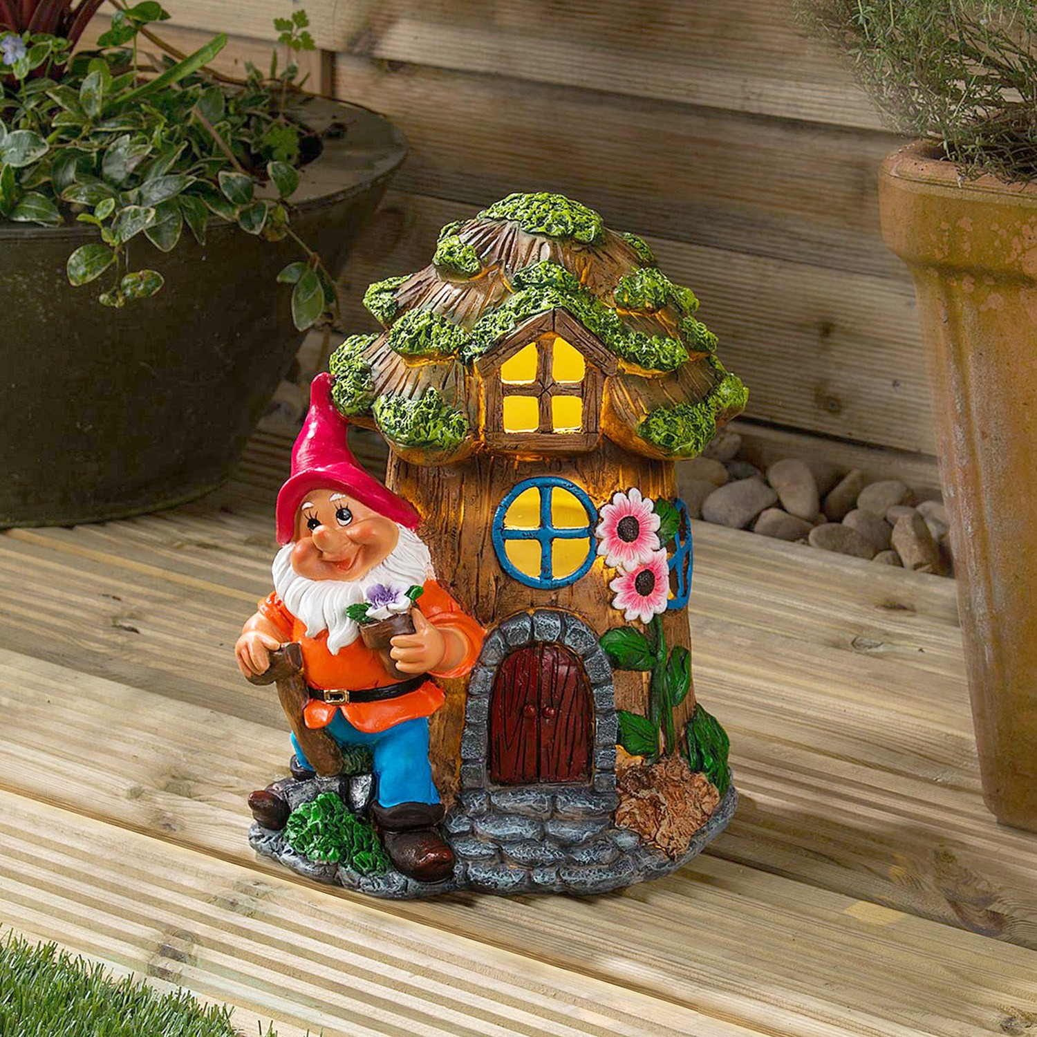 Image of Christow Solar Powered Gnome Flower House