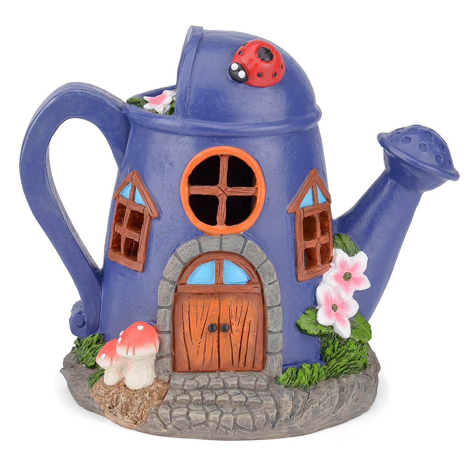 Image of Christow Solar Powered Watering Can Fairy House – Purple