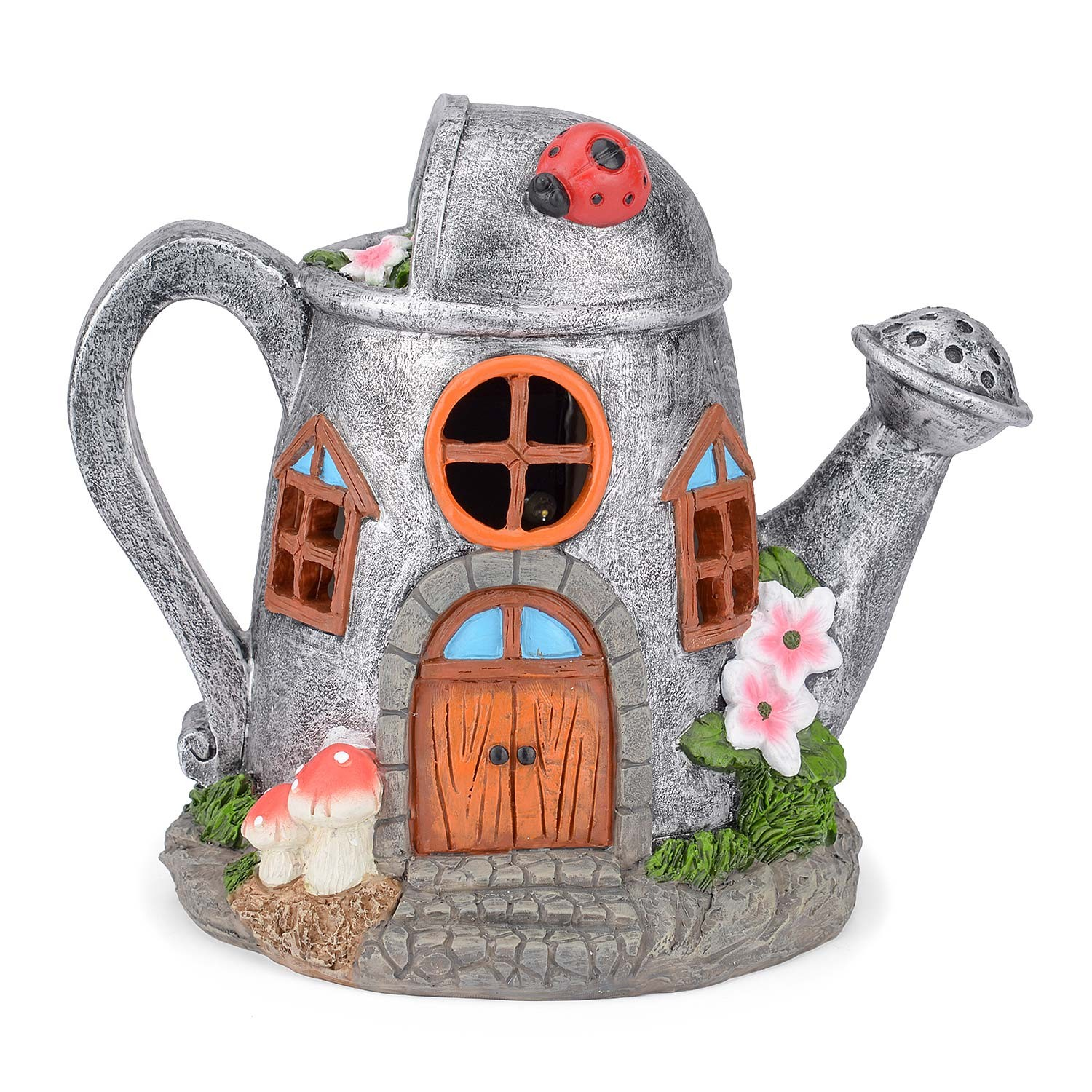 Image of Christow Solar Powered Watering Can Fairy House – Silver