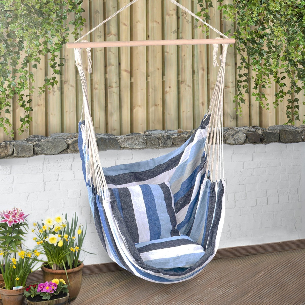 Large Garden Hammock Chair Hanging Swing Seat With Cushions Outdoor Christow Ebay