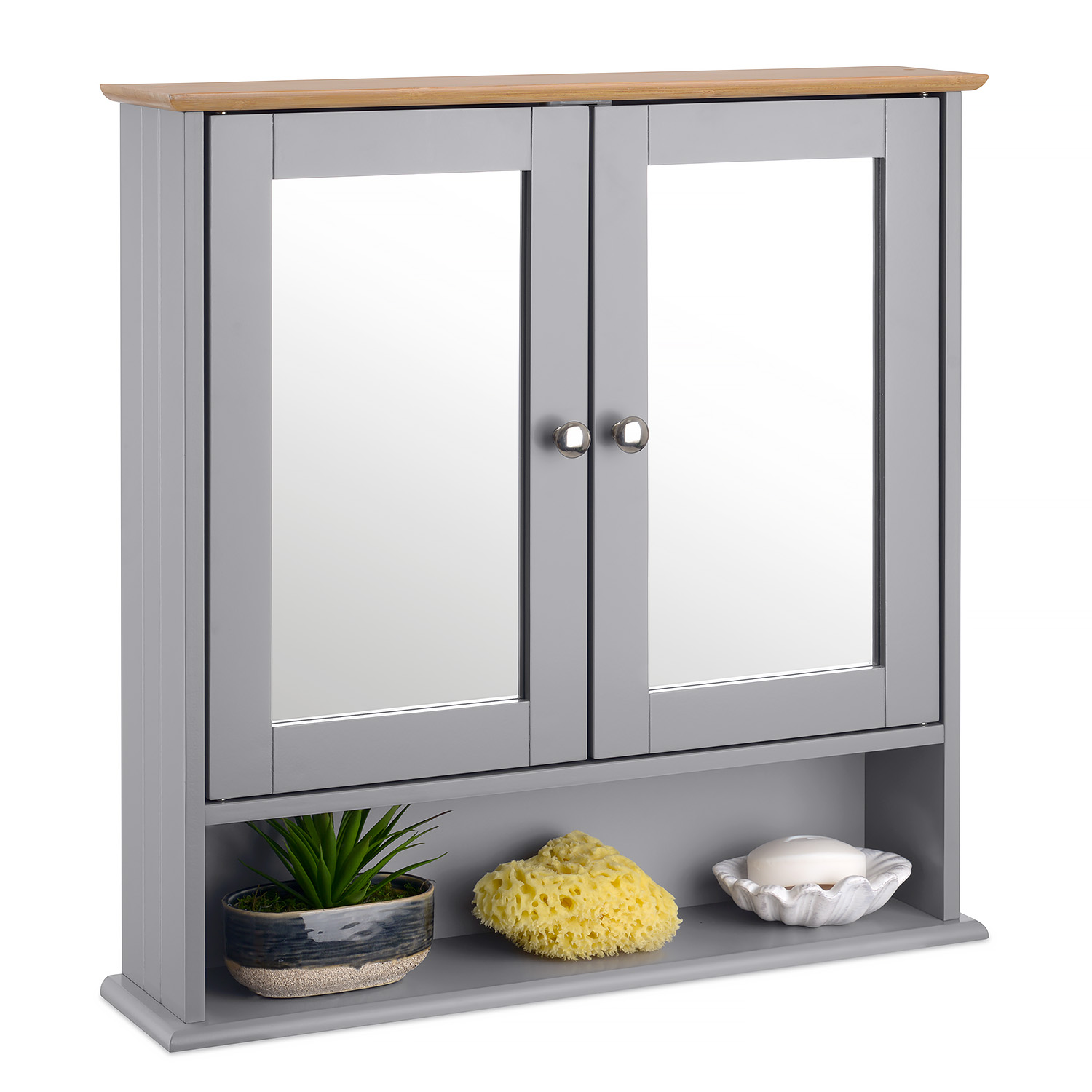 Image of Grey & Bamboo Mirrored Cabinet