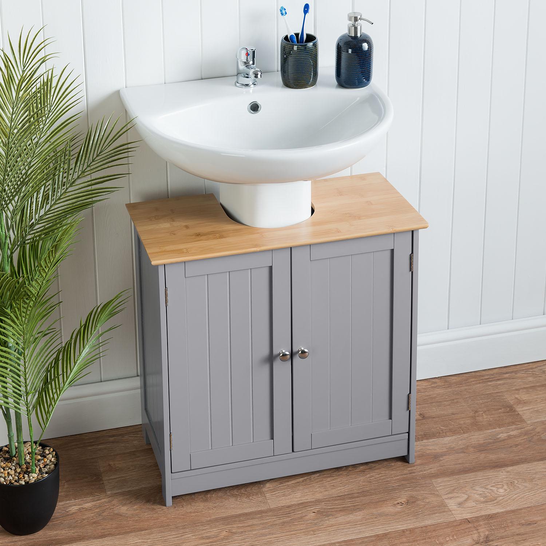 Picture of: Bathroom Under Sink Cabinet Grey Bamboo Wooden Storage Cupboard Unit Christow Ebay