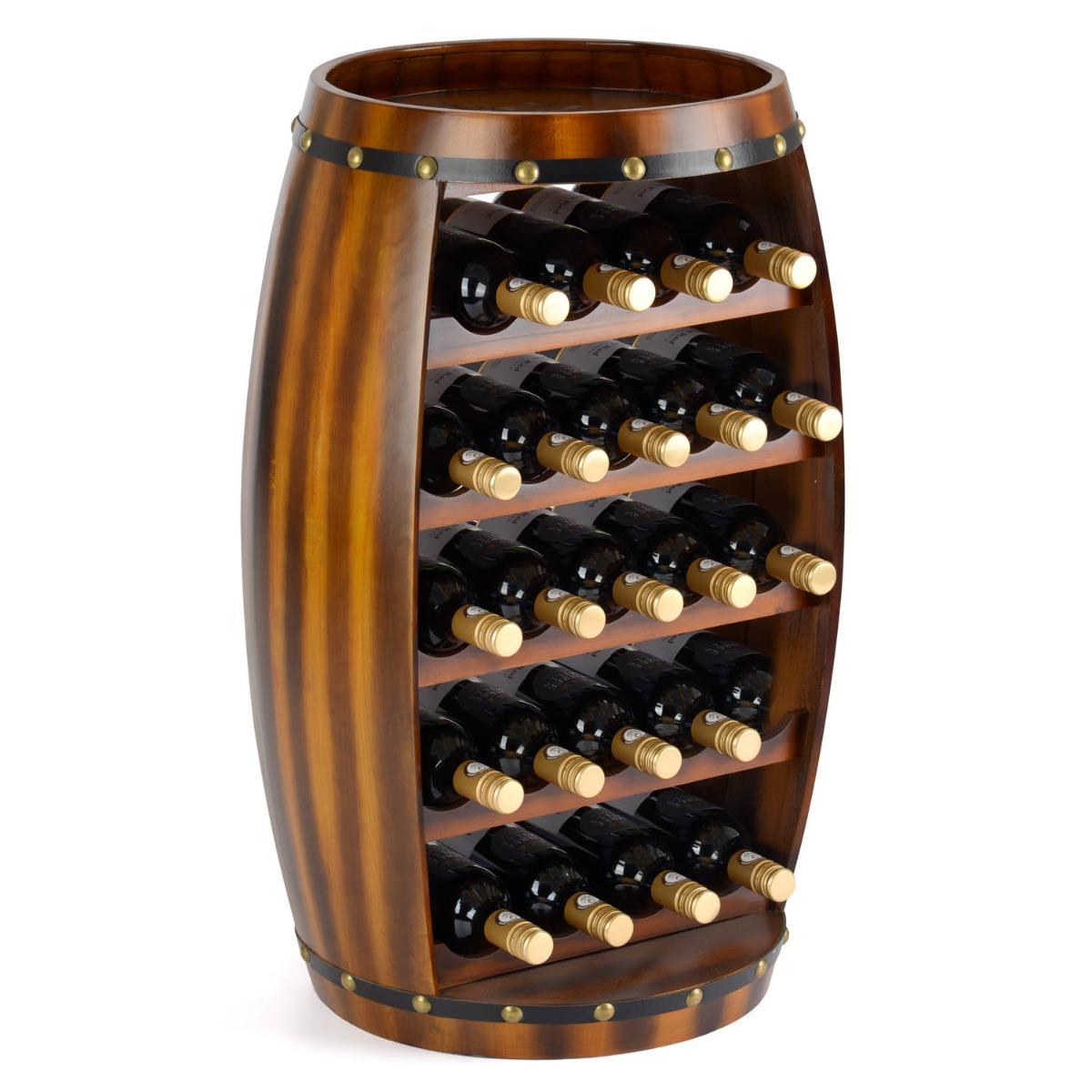 Image of 23 Bottle Wooden Barrel Wine Rack