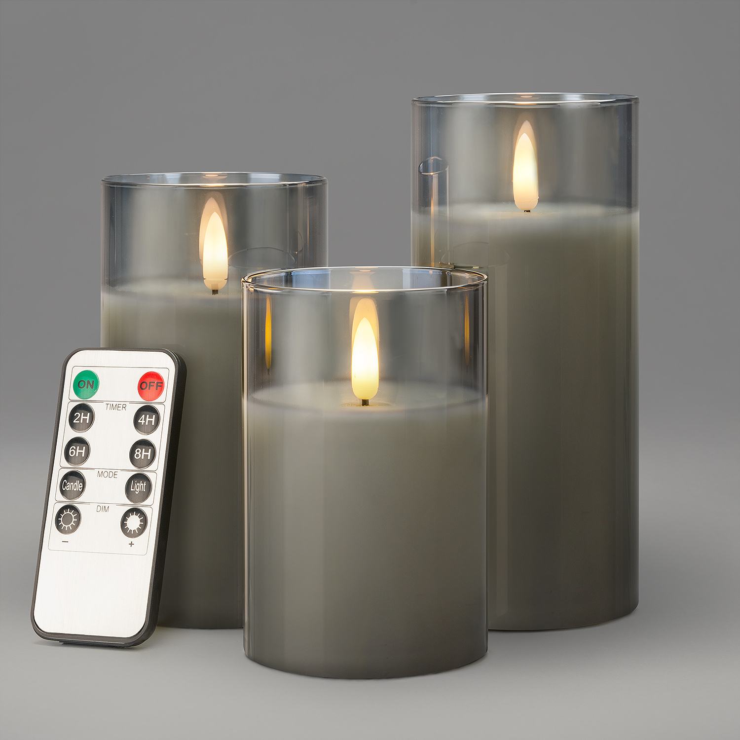 Image of Glass Candles With Remote - Grey