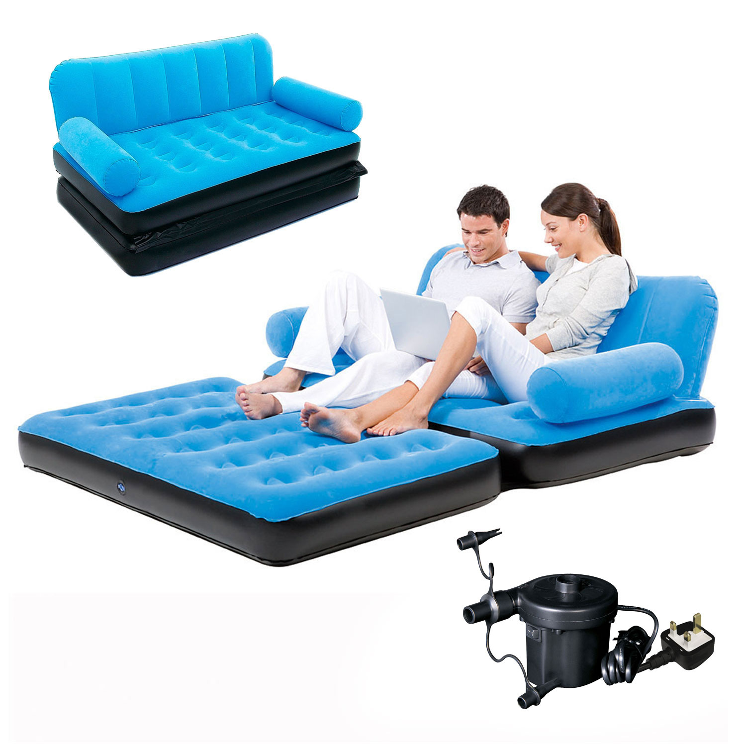- Inflatable Sofa Bed Double Airbed Couch Blow Up Lounger Air