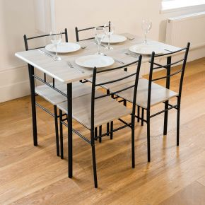 Cecilia 5 Piece Table & Chair Set Charcoal
