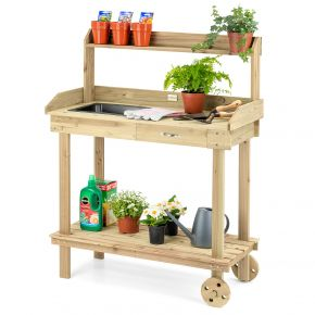 Garden Potting Table Bench Outdoor Wooden Workstation Wheels Tray Christow
