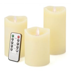 Cream LED Candles With Remote