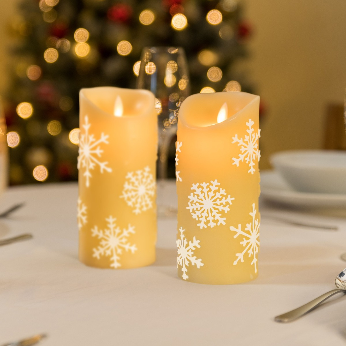 Image of Christow Snowflake LED Christmas Candles (2 Pack) - Cream