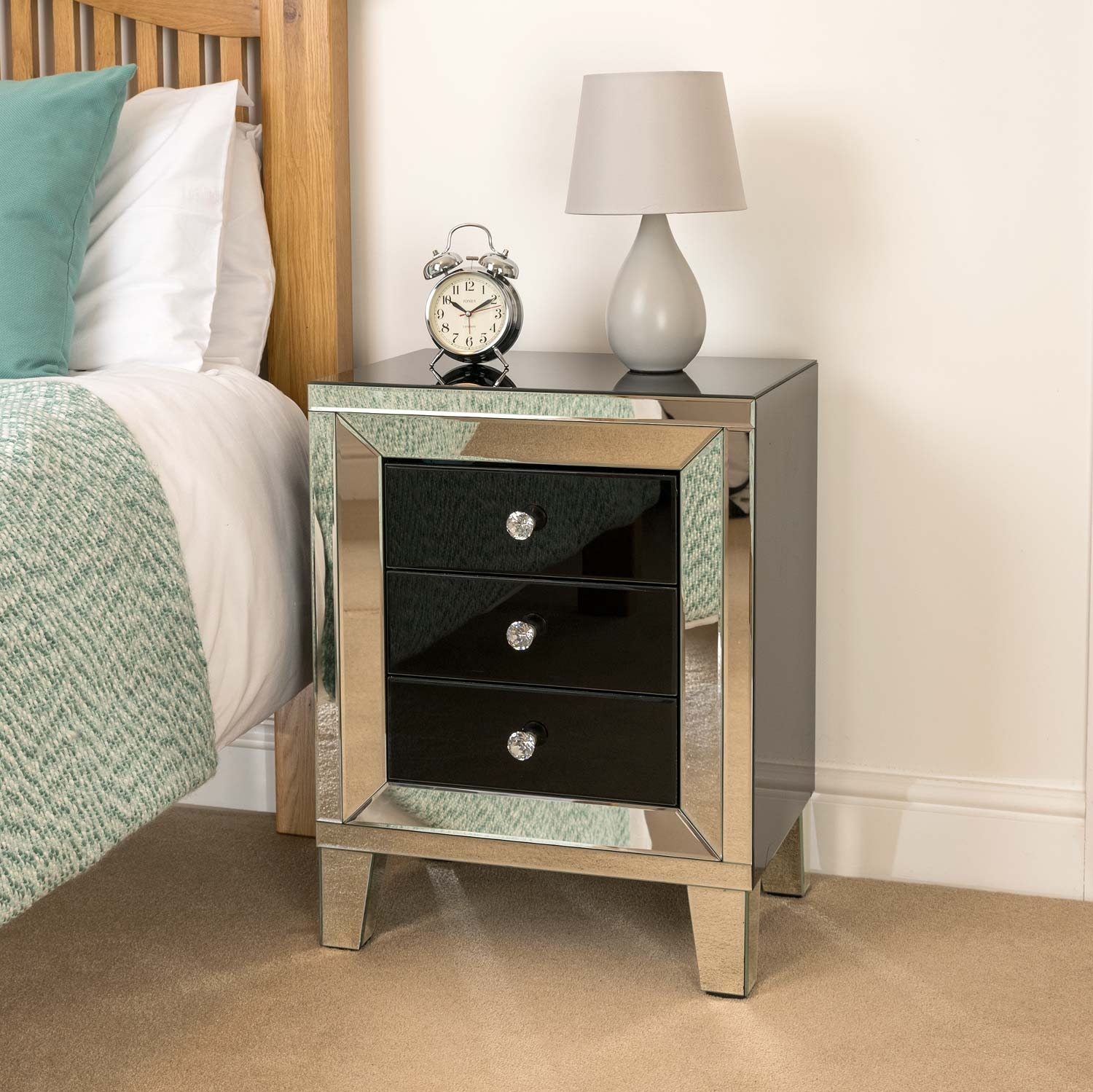 Image of Christow Black 3 Drawer Mirrored Bedside Cabinet