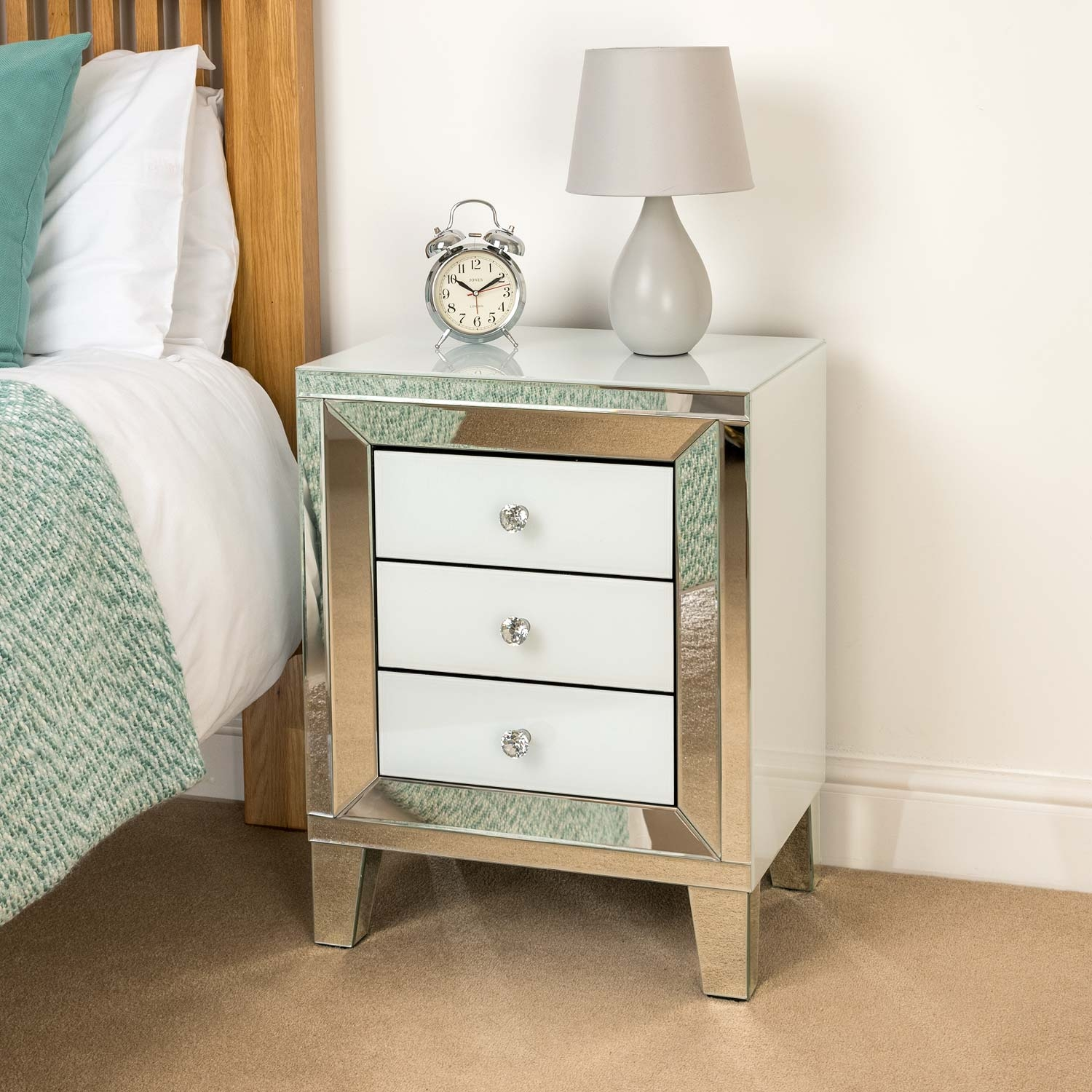 Image of Christow White 3 Drawer Mirrored Bedside Cabinet