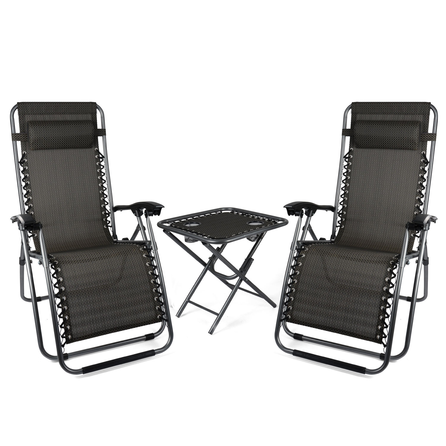 Image of Zero Gravity Chairs and Table Set - Black